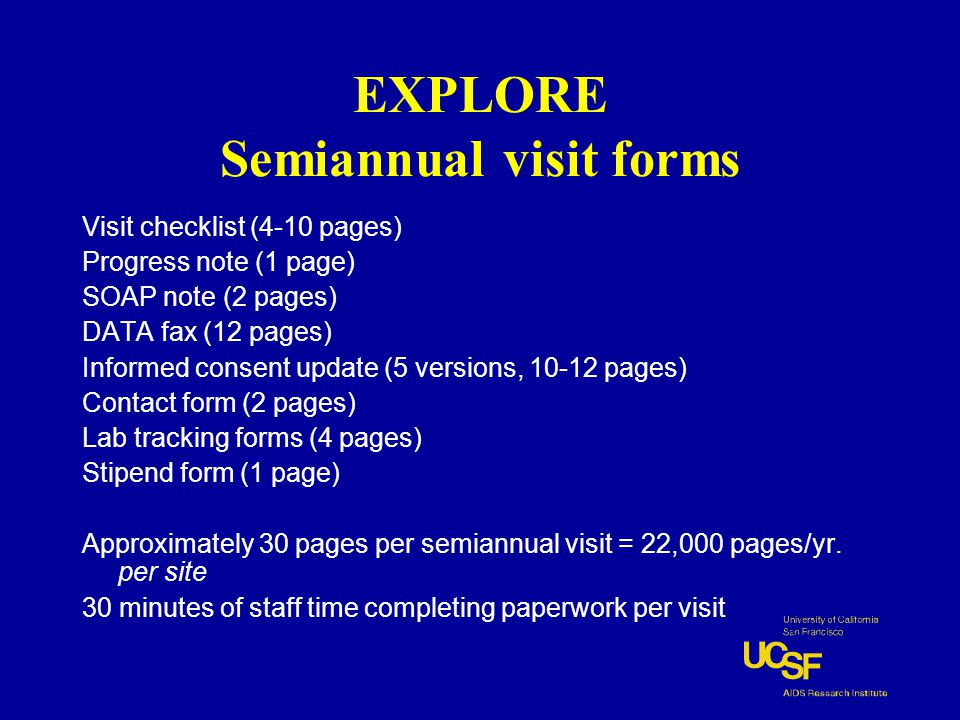 EXPLORE Semiannual visit forms Visit checklist (4-10 pages) Progress note (1 page) SOAP note (2 pages) DATA fax (12 pages) Informed consent update (5 versions, 10-12 pages) Contact form (2 pages) Lab tracking forms (4 pages) Stipend form (1 page) Approximately 30 pages per semiannual visit = 22,000 pages/yr.