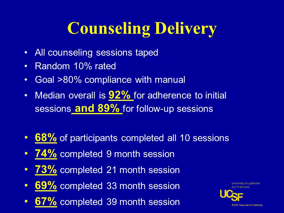 Counseling Delivery All counseling sessions taped Random 10% rated Goal >80% compliance with manual Median overall is 92% for adherence to initial sessions and 89% for follow-up sessions 68% of participants completed all 10 sessions 74% completed 9 month session 73% completed 21 month session 69% completed 33 month session 67% completed 39 month session