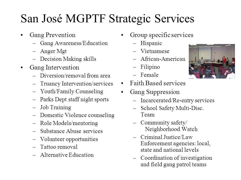 San José MGPTF Strategic Services Gang Prevention –Gang Awareness/Education –Anger Mgt –Decision Making skills Gang Intervention –Diversion/removal from area –Truancy Intervention/services –Youth/Family Counseling –Parks Dept staff night sports –Job Training –Domestic Violence counseling –Role Models/mentoring –Substance Abuse services –Volunteer opportunities –Tattoo removal –Alternative Education Group specific services –Hispanic –Vietnamese –African-American –Filipino –Female Faith Based services Gang Suppression –Incarcerated/Re-entry services –School Safety Multi-Disc.