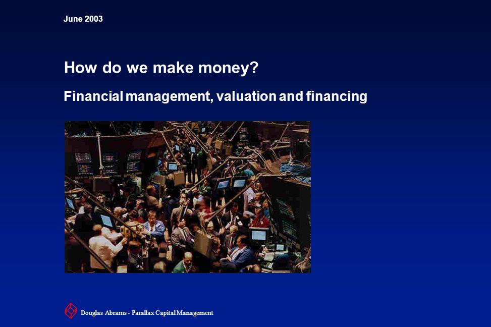2 6XXXX Douglas Abrams - Parallax Capital Management How do we make money.