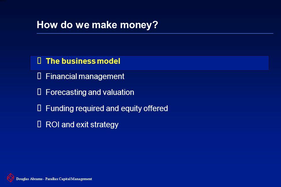 3 6XXXX Douglas Abrams - Parallax Capital Management Determine the business model  How do we create value.