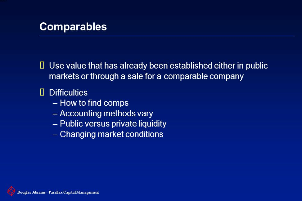 20 6XXXX Douglas Abrams - Parallax Capital Management Comparables  Use value that has already been established either in public markets or through a sale for a comparable company  Difficulties –How to find comps –Accounting methods vary –Public versus private liquidity –Changing market conditions