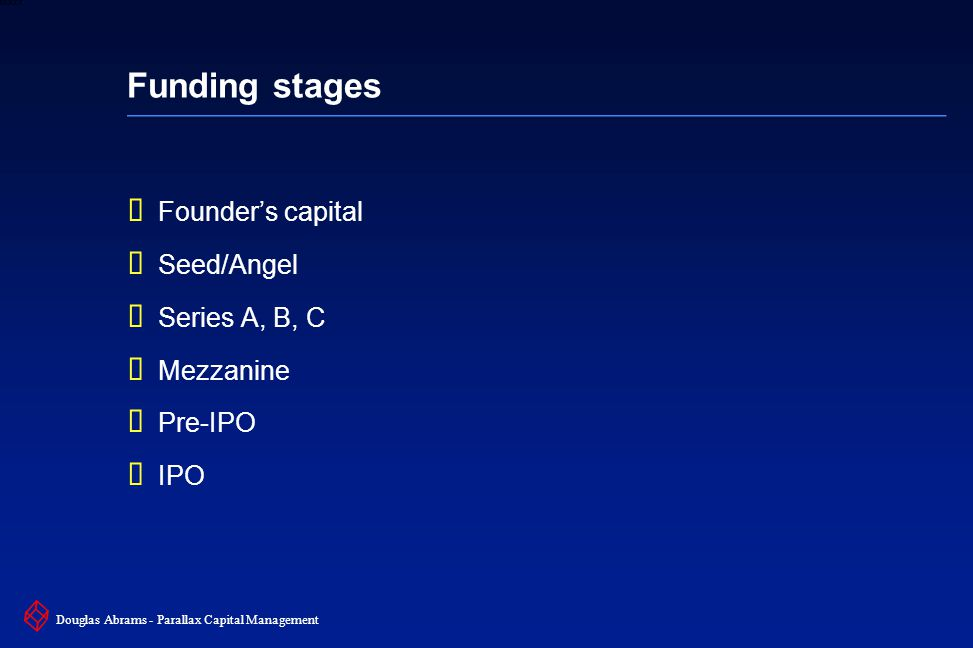 30 6XXXX Douglas Abrams - Parallax Capital Management Funding stages  Founder's capital  Seed/Angel  Series A, B, C  Mezzanine  Pre-IPO  IPO