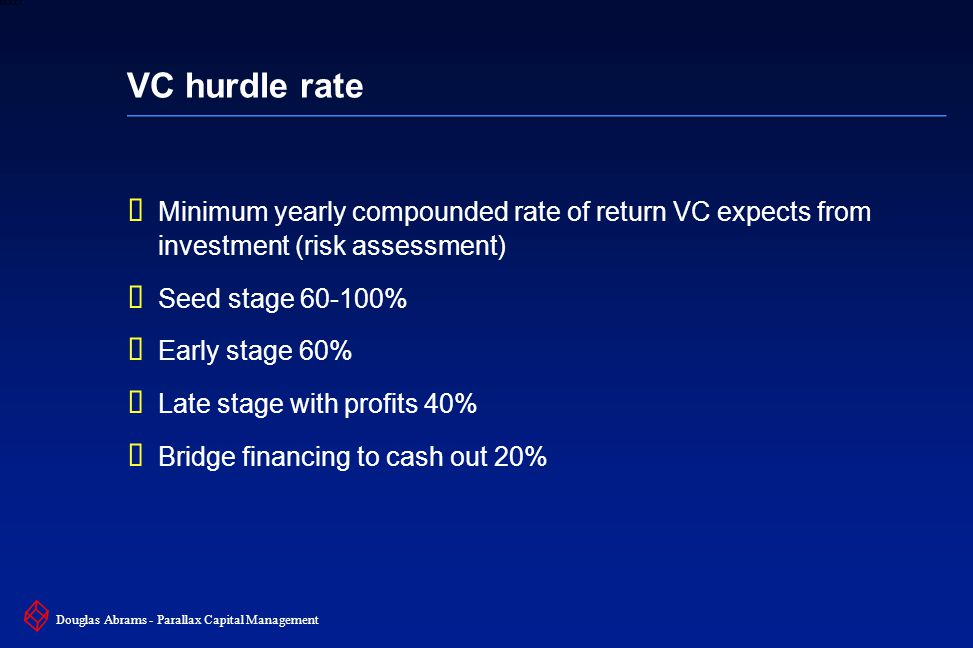 33 6XXXX Douglas Abrams - Parallax Capital Management VC hurdle rate  Minimum yearly compounded rate of return VC expects from investment (risk assessment)  Seed stage 60-100%  Early stage 60%  Late stage with profits 40%  Bridge financing to cash out 20%