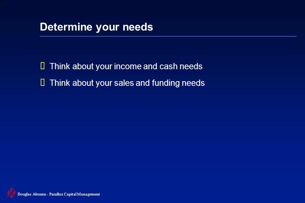5 6XXXX Douglas Abrams - Parallax Capital Management Determine your needs  Think about your income and cash needs  Think about your sales and funding needs