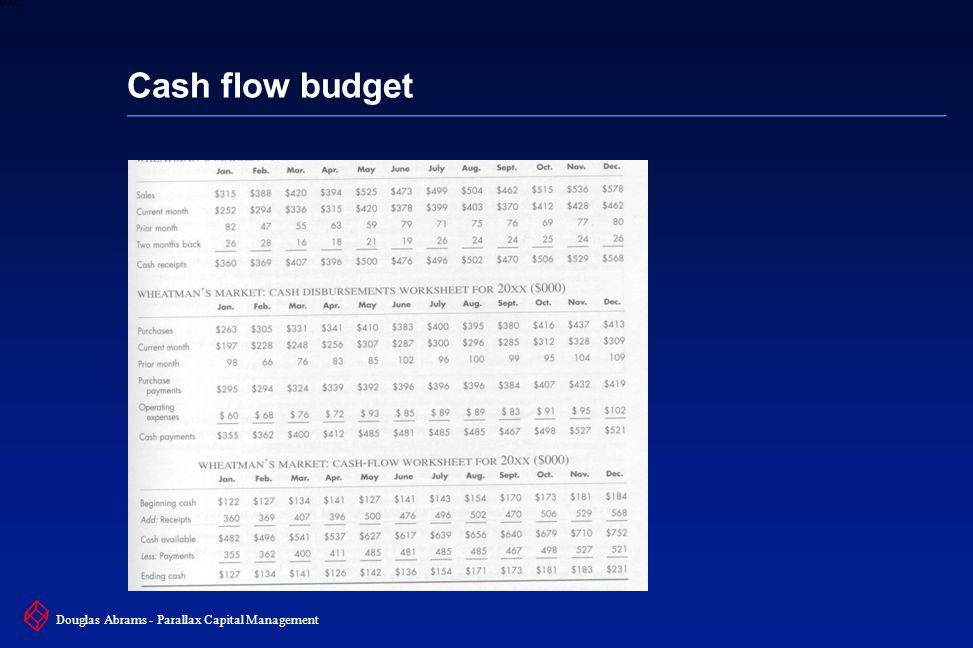 8 6XXXX Douglas Abrams - Parallax Capital Management Cash flow budget