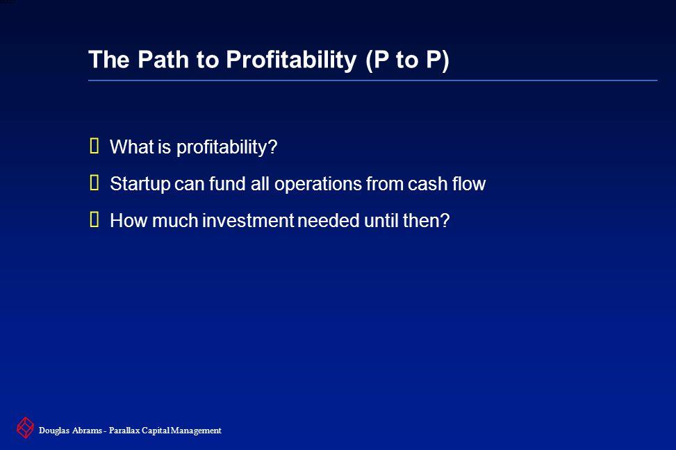 9 6XXXX Douglas Abrams - Parallax Capital Management The Path to Profitability (P to P)  What is profitability.