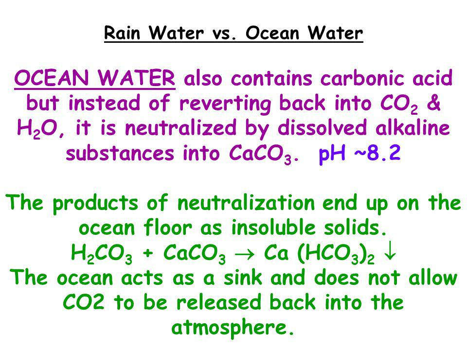 ACID RAIN Natural rain contains some dissolved CO 2 gas from the atmosphere, making rain slightly acidic ~ 5.6 pH.