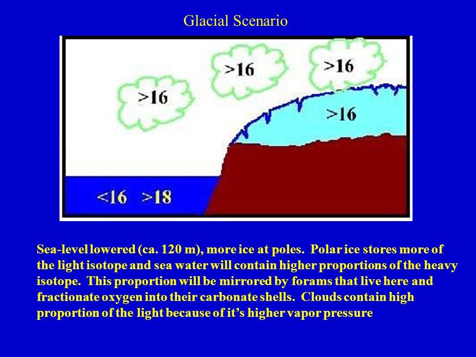 Glacial Scenario Sea-level lowered (ca. 120 m), more ice at poles.