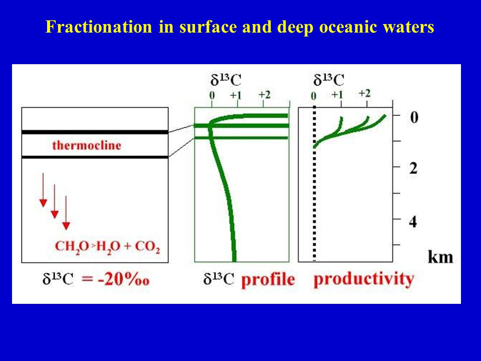 Fractionation in surface and deep oceanic waters