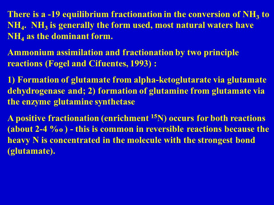 There is a -19 equilibrium fractionation in the conversion of NH 3 to NH 4.