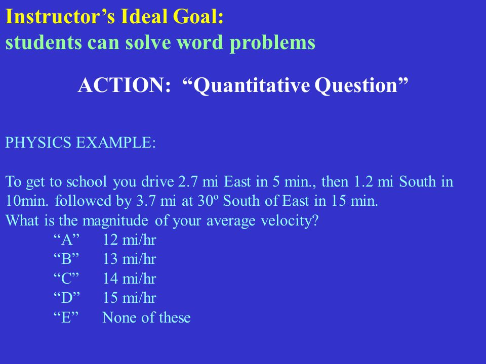 ACTION: Quantitative Question PHYSICS EXAMPLE: To get to school you drive 2.7 mi East in 5 min., then 1.2 mi South in 10min.