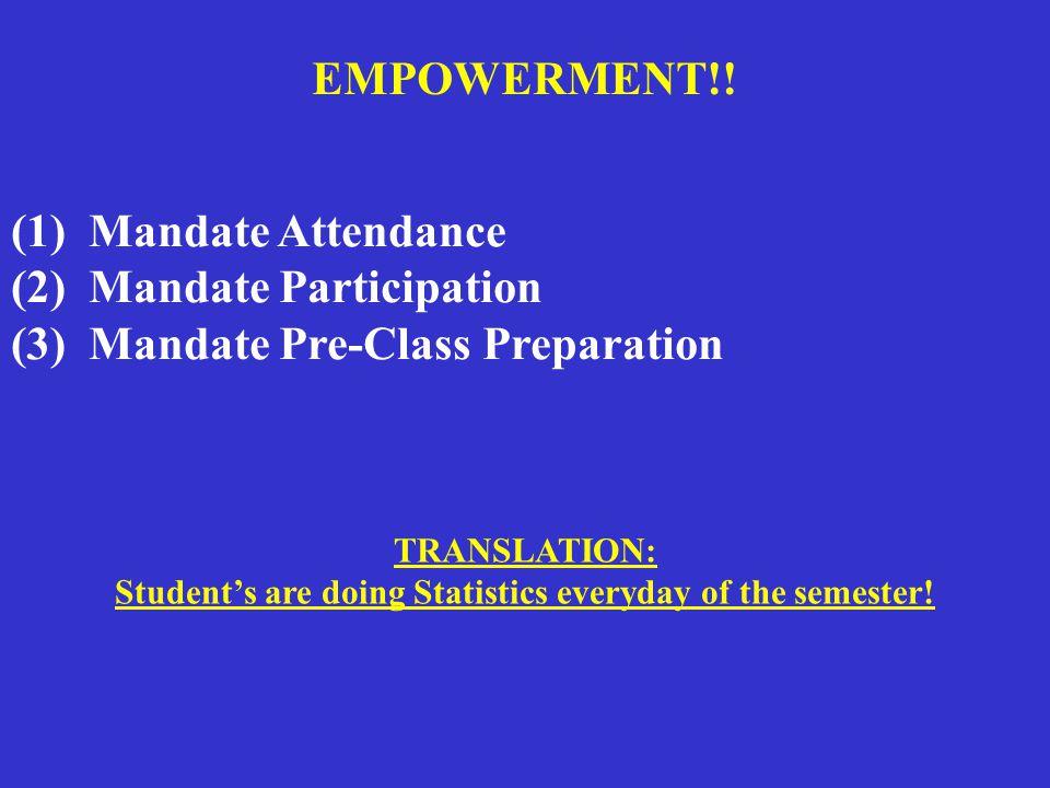 (1) Mandate Attendance (2) Mandate Participation (3) Mandate Pre-Class Preparation EMPOWERMENT!.