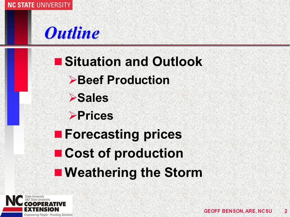 GEOFF BENSON, ARE, NCSU63GEOFF BENSON, ARE, NCSU63 Hay Making Cost, DM basis n Small square bales -- $89/ton of DM ($76 as made) n Large round bales -- $78/ton of DM ($66 as made) è Add cost of growing the hay crop to this èHay costs $164/ton of DM for LRB ($139 as made) èAdd to this the risk of rain & losses in storage and feeding plus feeding costs n What are your hay costs.