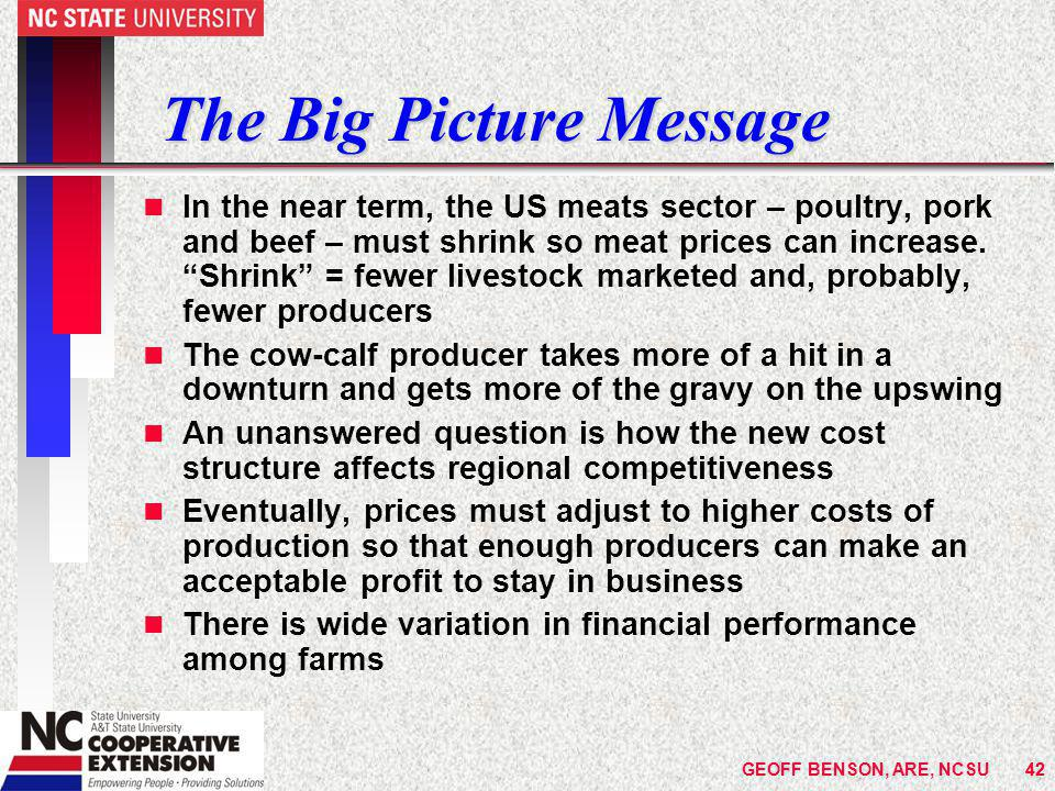 The Big Picture Message n In the near term, the US meats sector – poultry, pork and beef – must shrink so meat prices can increase.