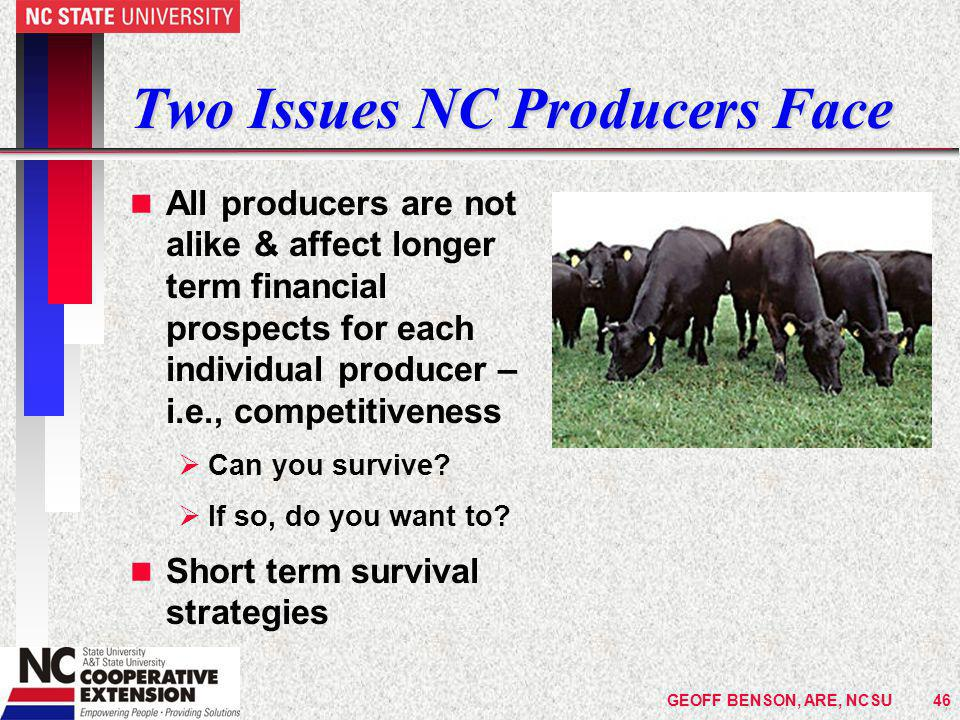 Two Issues NC Producers Face n All producers are not alike & affect longer term financial prospects for each individual producer – i.e., competitiveness  Can you survive.