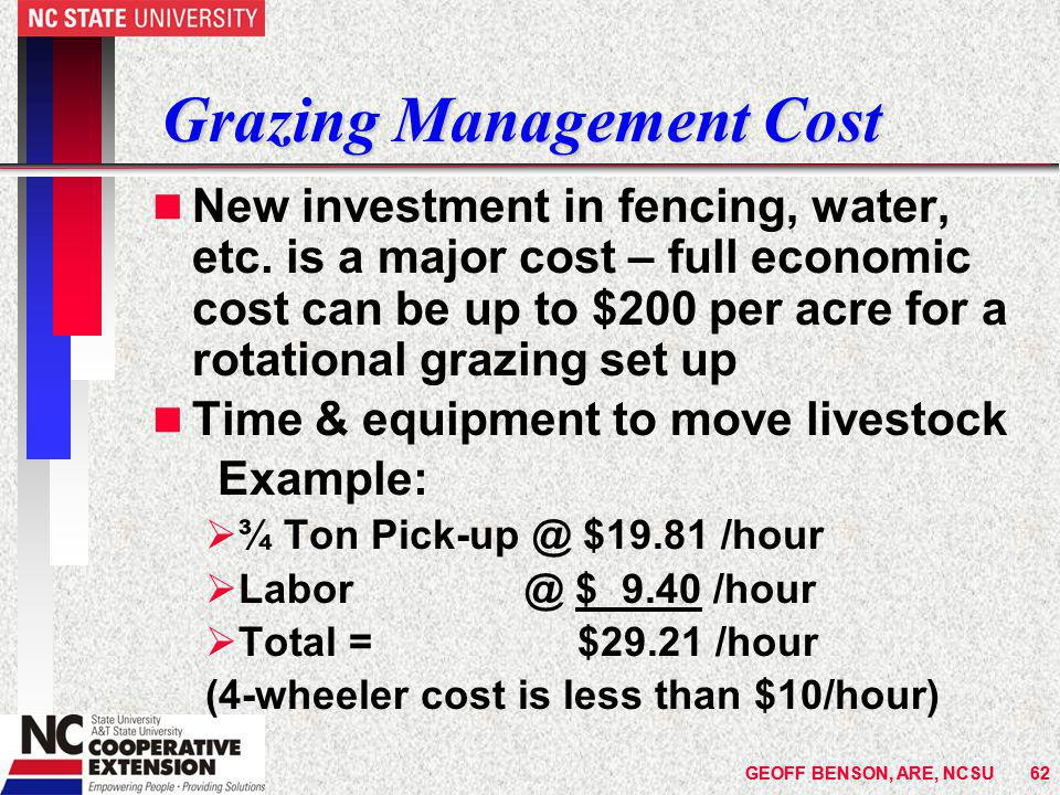 GEOFF BENSON, ARE, NCSU62GEOFF BENSON, ARE, NCSU62 Grazing Management Cost n New investment in fencing, water, etc.