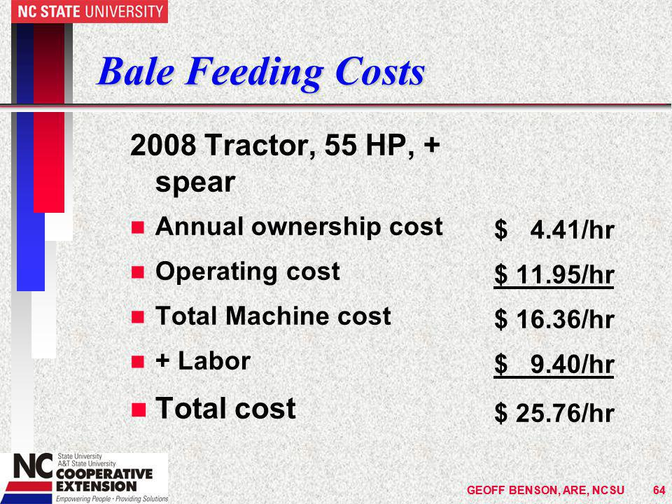 GEOFF BENSON, ARE, NCSU64GEOFF BENSON, ARE, NCSU64 Bale Feeding Costs 2008 Tractor, 55 HP, + spear n Annual ownership cost n Operating cost n Total Machine cost n + Labor n Total cost $ 4.41/hr $ 11.95/hr $ 16.36/hr $ 9.40/hr $ 25.76/hr
