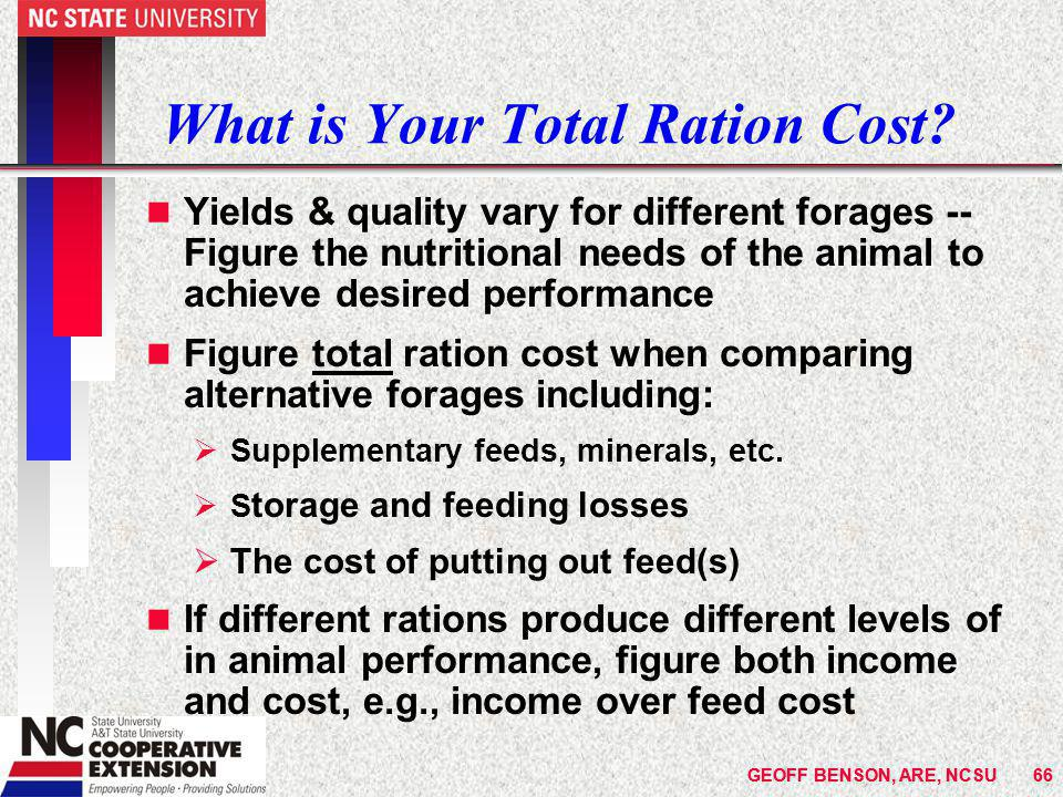 GEOFF BENSON, ARE, NCSU66GEOFF BENSON, ARE, NCSU66 What is Your Total Ration Cost.