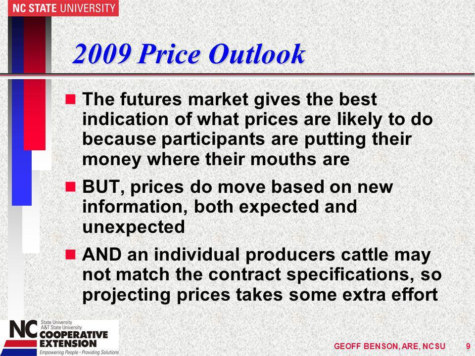 GEOFF BENSON, ARE, NCSU30 Prices Paid Index for Selected Inputs USDA Index 1990-92 = 100 Jan 2006 Jan 2007 Jan 2008 Jan 2009 %  (06/07) to '09 Nitrogen fert.236202283380+ 74% P & K fert.168149257353+ 126% Diesel fuel236241332232- 3% Field Crop Seeds177191218287+ 56% Source: Agricultural Prices, NASS, USDA, January 2009
