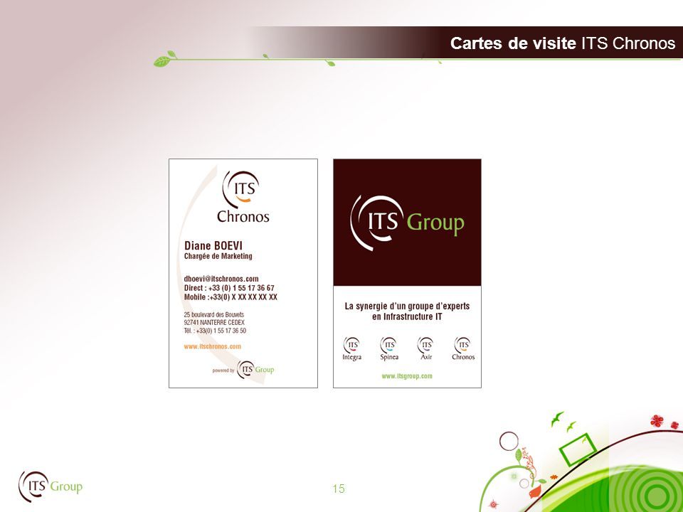 Cartes de visite ITS Chronos 15