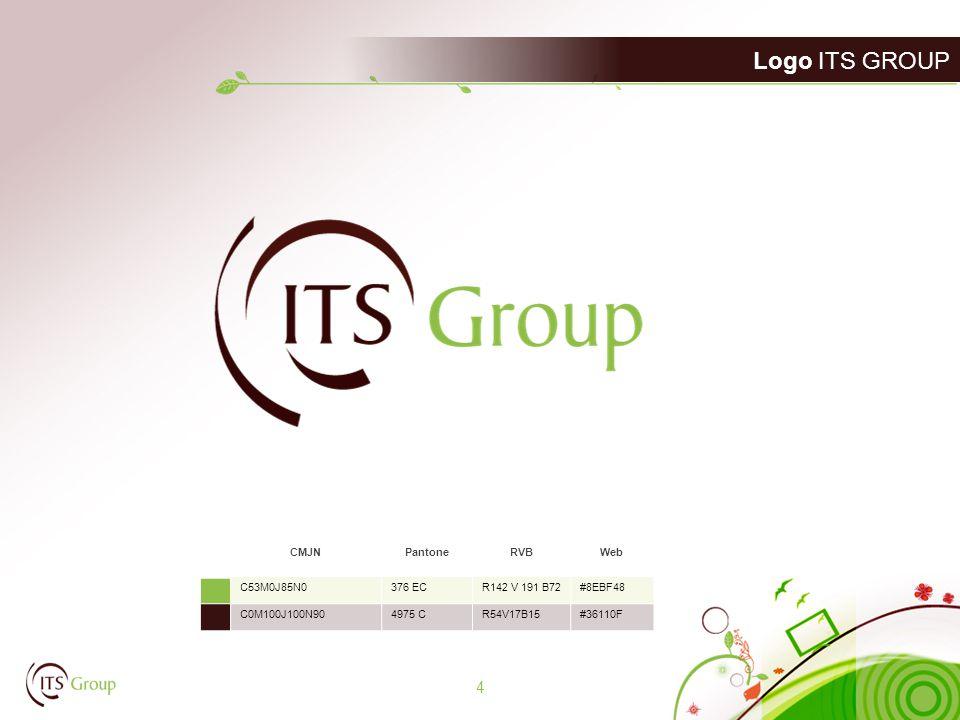 Logo ITS GROUP 4 CMJNPantoneRVBWeb C53M0J85N0376 ECR142 V 191 B72#8EBF48 C0M100J100N904975 CR54V17B15#36110F