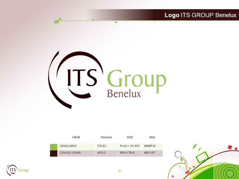Logo ITS GROUP Benelux 9 CMJNPantoneRVBWeb C53M0J85N0376 ECR142 V 191 B72#8EBF48 C0M100J100N904975 CR54V17B15#36110F