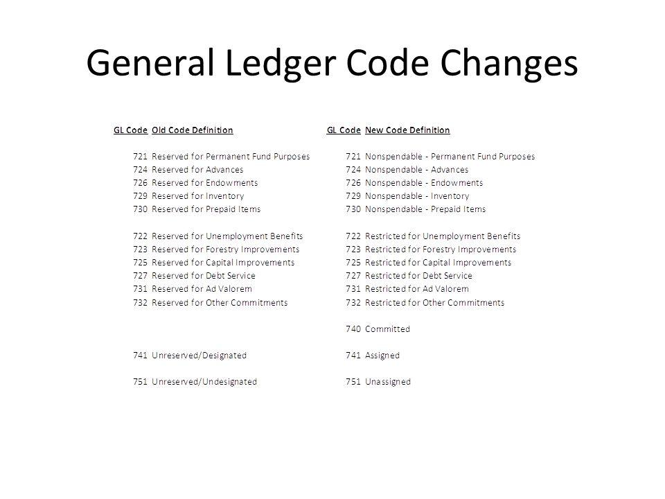 General Ledger Code Changes