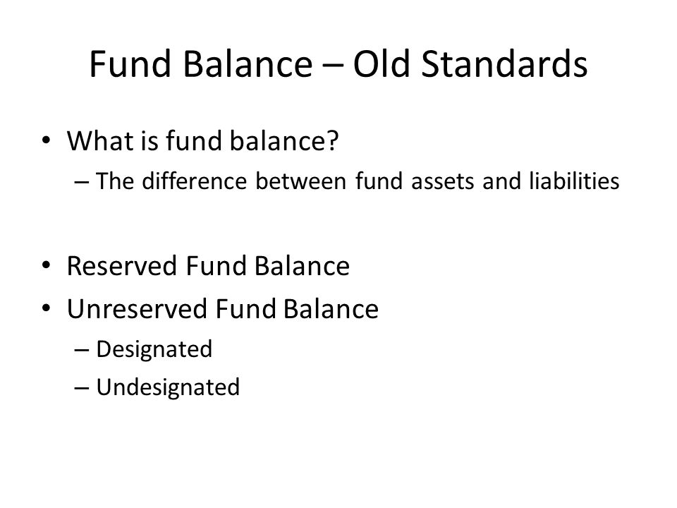 Example of Old Standards and Financial Statement Placement