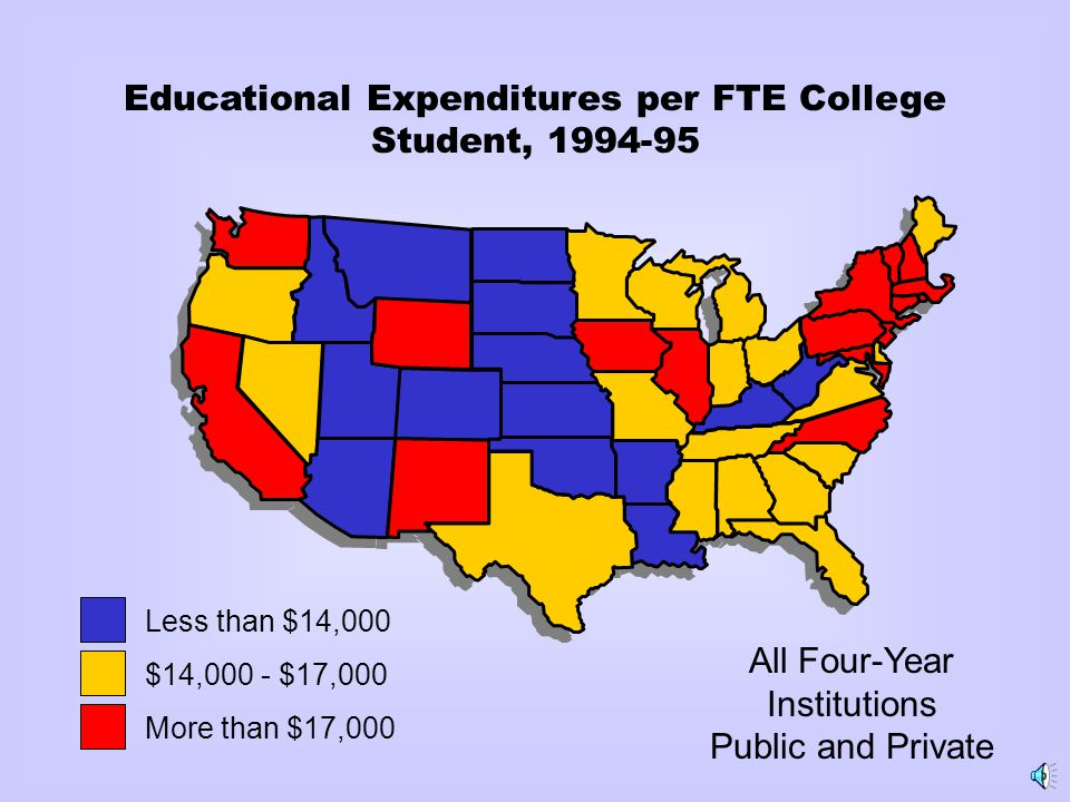 Educational Expenditures per FTE College Student, 1994-95 All Four-Year Institutions Public and Private Less than $14,000 $14,000 - $17,000 More than $17,000
