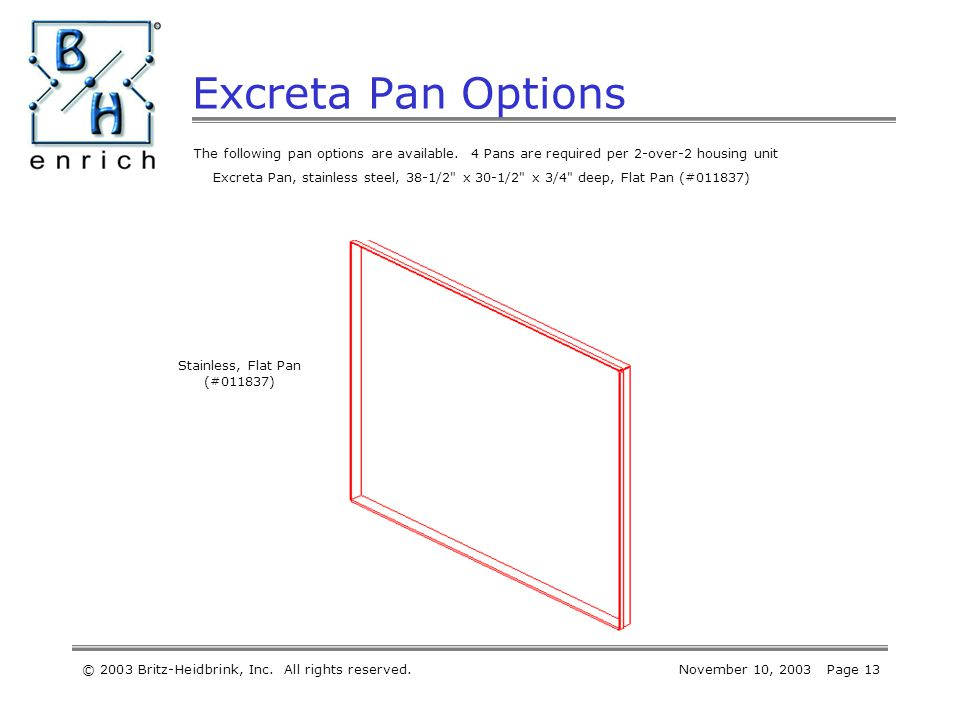 © 2003 Britz-Heidbrink, Inc. All rights reserved.November 10, 2003 Page 13 Excreta Pan Options The following pan options are available. 4 Pans are req