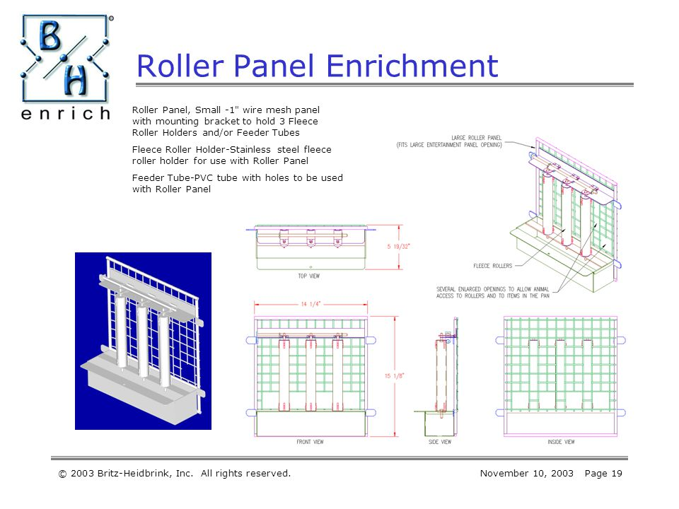 © 2003 Britz-Heidbrink, Inc. All rights reserved.November 10, 2003 Page 19 Roller Panel Enrichment Roller Panel, Small -1
