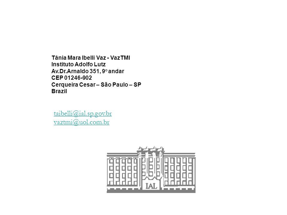 taibelli@ial.sp.gov.br vaztmi@uol.com.br Tânia Mara Ibelli Vaz - VazTMI Instituto Adolfo Lutz Av.Dr.Arnaldo 351, 9 o andar CEP 01246-902 Cerqueira Cesar – São Paulo – SP Brazil