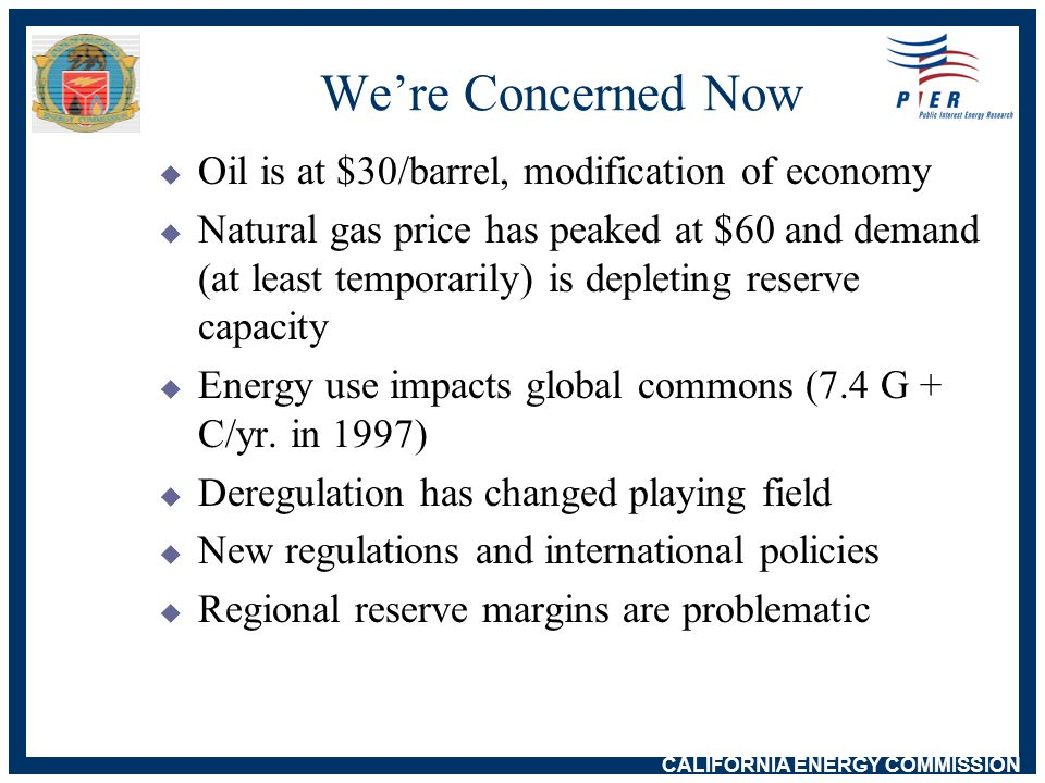 CALIFORNIA ENERGY COMMISSION California Electricity Problems: Non-Causes  Soaring electricity demand w 1990 - 1999 only 1.1% per year  Huge electricity demand from Internet w Claimed 8-13% of electricity demand w Actual 2-3% and growing slowly  Environmental regulations prevented power plants w Uncertainty, restructuring and stranded costs chilled construction  California built no power plants in 1990s w Added 4010 MW, most small scale  Fuel shortage