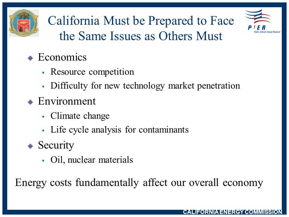 CALIFORNIA ENERGY COMMISSION Energy Challenges - Most are Not Unique to California  Population growth, improved standard of living  Increased reliance on natural gas  Continued reliance on oil  Continued need to improve process and end-use energy efficiency and demand-side management  Demand spikes, needle peaks  Use of older generating facilities  Financial constraints  climate change initiatives  NIMBY, NIMTOO concerns