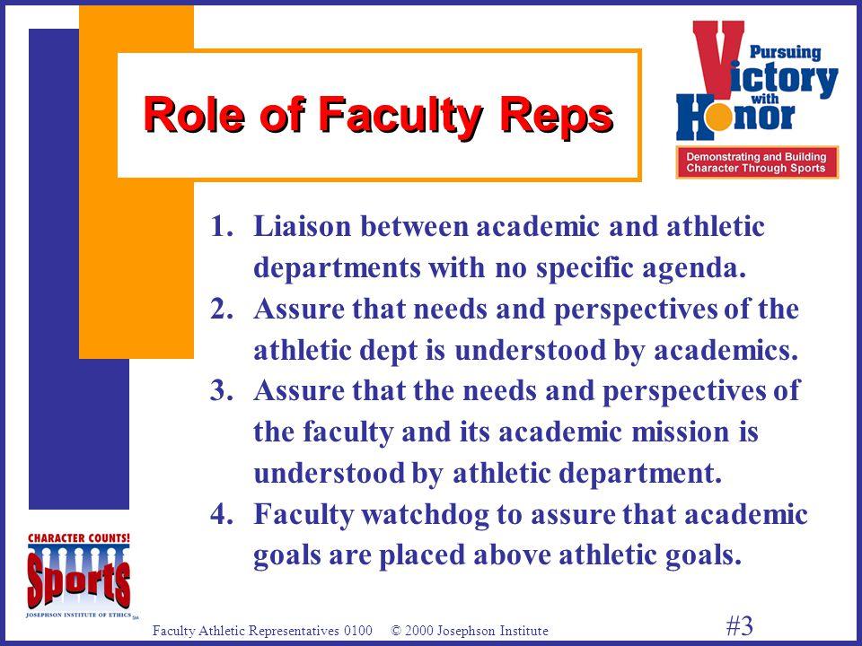 Faculty Athletic Representatives 0100 © 2000 Josephson Institute #3 1.