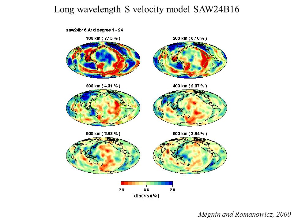 Long wavelength S velocity model SAW24B16 Mégnin and Romanowicz, 2000