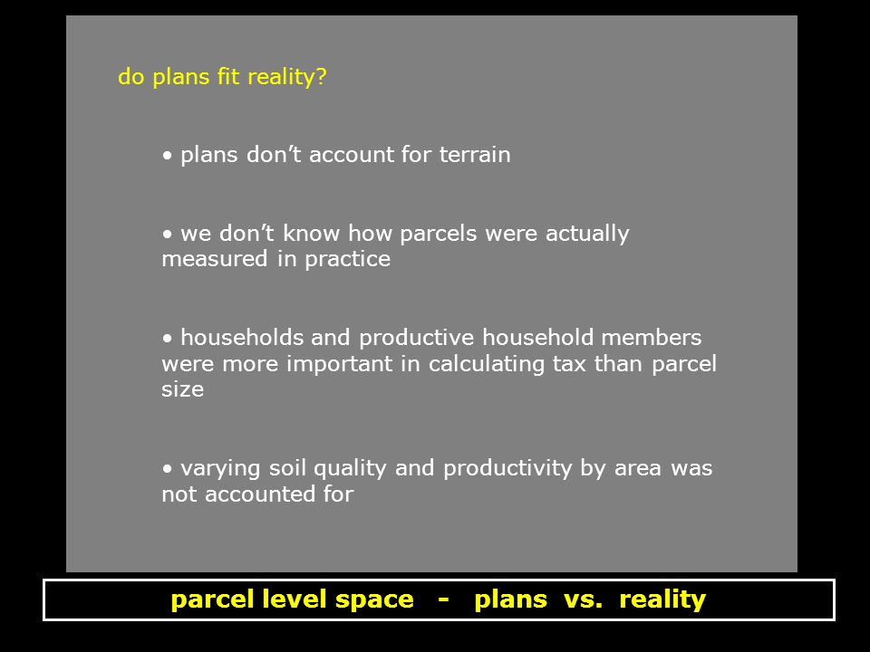 parcel level space - plans vs. reality do plans fit reality.