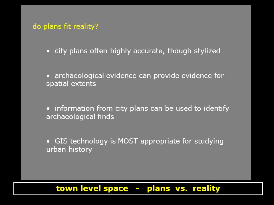 town level space - plans vs. reality do plans fit reality.