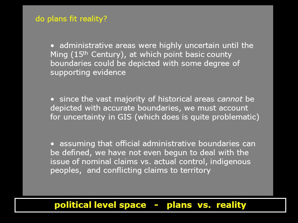 political level space - plans vs. reality do plans fit reality.