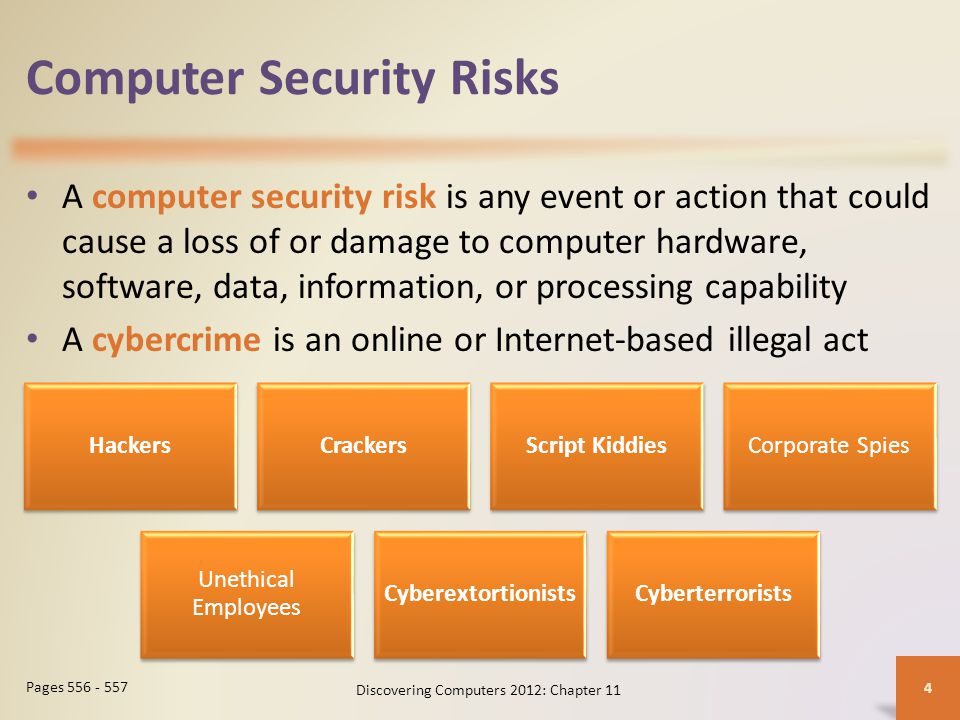 Summary Potential computer risks and safeguards Wireless security risks and safeguards Computer-related health issues and preventions Ethical issues surrounding information accuracy, intellectual property rights, codes of conduct, green computing, and information privacy Discovering Computers 2012: Chapter 11 55 Page 591