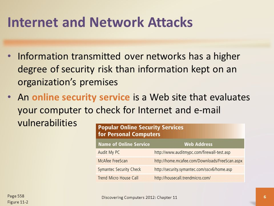 Internet and Network Attacks Computer Virus Affects a computer negatively by altering the way the computer works Worm Copies itself repeatedly, using up resources and possibly shutting down the computer or network Trojan Horse A malicious program that hides within or looks like a legitimate program Rootkit Program that hides in a computer and allows someone from a remote location to take full control Discovering Computers 2012: Chapter 11 7 Page 558