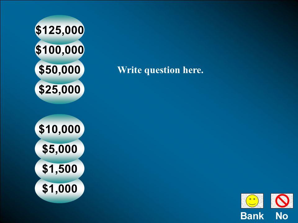 NoBank $1,000 $1,500 $5,000 $10,000 $25,000 $50,000 $100,000 $125,000