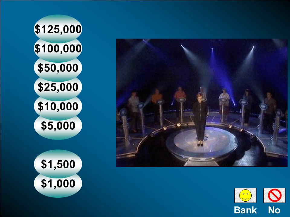 $1,000 $1,500 $5,000 $10,000 $25,000 $50,000 $100,000 $125,000 NoBank