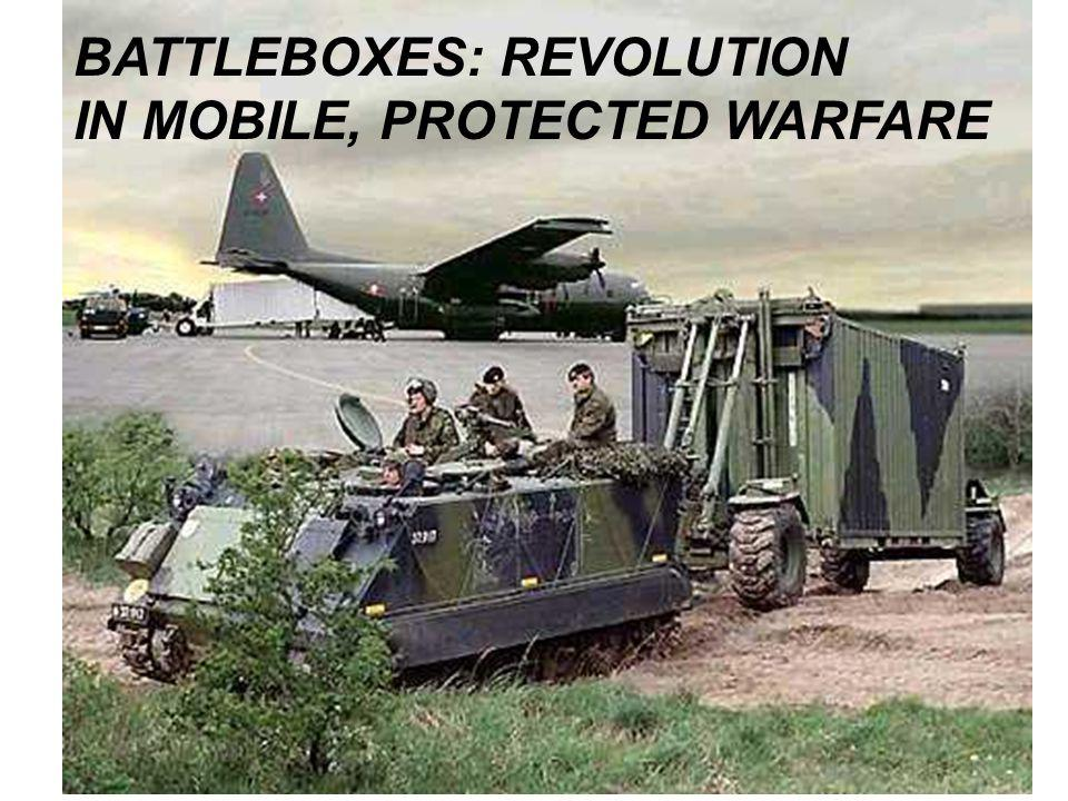 BATTLEBOX TACTICAL CONCEPT 100 Men = 30 x ISO Container BattleBoxes (BBs) Notional Mechanized Infantry 3D Maneuver Company = 15 tracked M113 Gavin AFVs (1 added to MTOE) 2 with bulldozer blades, 1 with M806 crane XM1108 Gavin tracked Resupply AFV (replaces 2.5 ton FMTV truck) + 400 gallon water buffalo 1.25 ton HMMWV truck + small ANT trailer 2 x Bobcat mini-bulldozers + 30 ANT-ISO trailers 20 troop/supply boxes 10 specialty boxes 1st Tactical Studies Group (Airborne) 2005 www.geocities.com/strategicmaneuver/battleboxes.htm