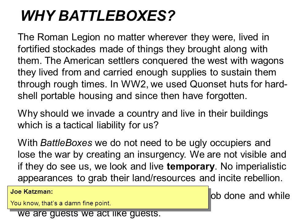 MSGT Mark.LaSalle: BattleBox/Base Box ISO containers as shelter cores and roofs for Texas Barriers: I sent the following to SFTT, then thought of your site.