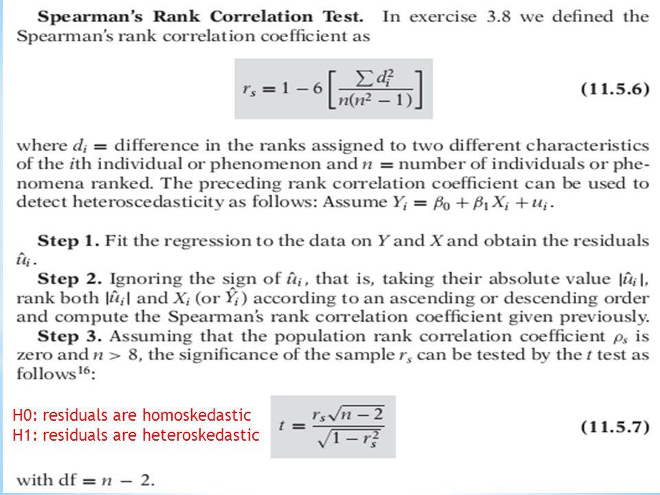 H0: residuals are homoskedastic H1: residuals are heteroskedastic