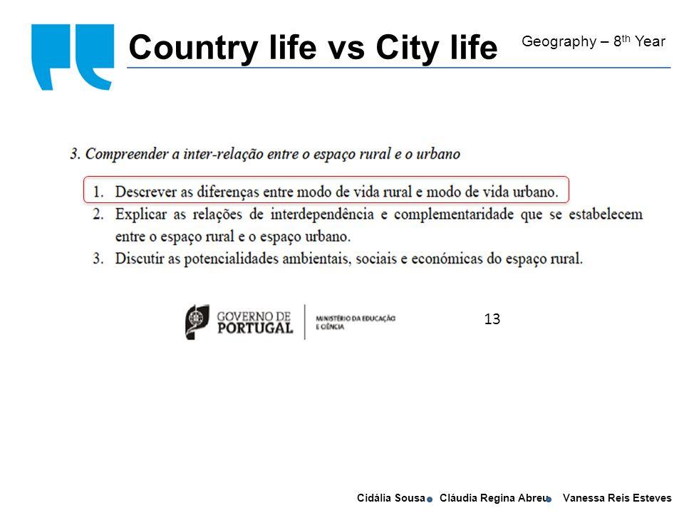 Cidália Sousa Cláudia Regina Abreu Vanessa Reis Esteves self conscious - To understand the meaning of rural and urban.