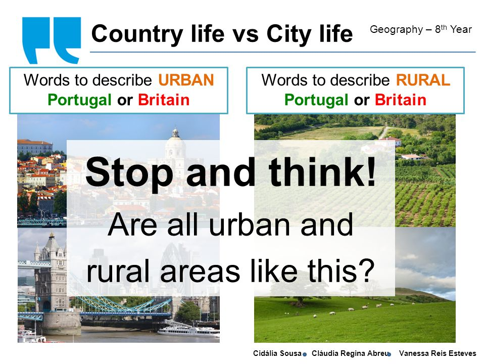 Cidália Sousa Cláudia Regina Abreu Vanessa Reis Esteves Living in the country Geography – 8 th Year Disadvantages: In the country, it is difficult to find a good job and public transport is rather limited.