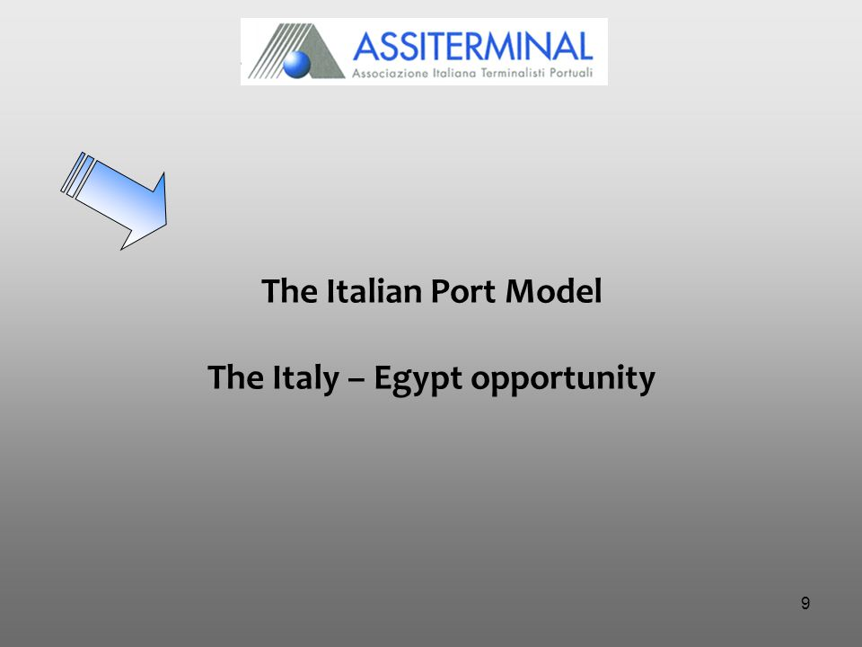9 The Italian Port Model The Italy – Egypt opportunity
